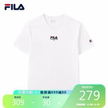 FILA 斐乐官方 男士短袖T恤 2021夏季运动时尚纯棉圆领针织衫 标准白 170/92A/M