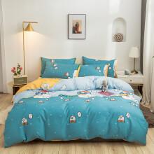莱薇纯棉印花四件套现代简约全棉套件床上用品 大胖鸭 1.2m床三件套被套150*200cm