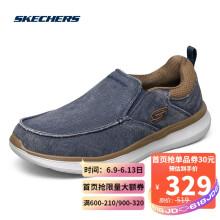 Skechers斯凯奇时尚一脚蹬懒人鞋男士商务低帮休闲鞋豆豆鞋210025 NVY海军蓝色 42