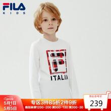 FILA斐乐童装男童长袖春季儿童长袖T恤圆领上衣潮K12B011208FWT标准白150