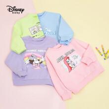 迪士尼 Disney 童装儿童女童针织卡通圆领卫衣可爱套头衫简约宝宝长袖上衣 2021春 DB121AA62 桃粉色 140