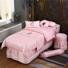 美容床六件套 美容床罩四件套 棉欧式美容院采耳五六七八件套按摩SPA 粉红色 飞羽小鹿-粉色 四件套 方头190*80