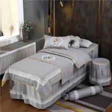 美容床六件套 美容床罩四件套 棉欧式美容院采耳五六七八件套按摩SPA 休闲灰色 飞羽小鹿-灰色 四件套 方头190*80
