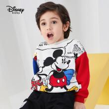 京东超市迪士尼 Disney 童装儿童男女童圆领开通可爱宽松卫衣大图案休闲长袖上衣 2021春 DB111EE16 本白 110