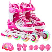 迪士尼(Disney)溜冰鞋儿童全套装轮滑鞋男女可调全闪光旱冰鞋滑冰鞋 粉公主S码(建议平时27-32码3-6岁)