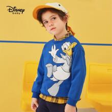 京东超市迪士尼 Disney 童装儿童卫衣中大男童针织酷帅圆领休闲宝宝卡通打底上衣 2021春 DB111EE08 炫目蓝 100