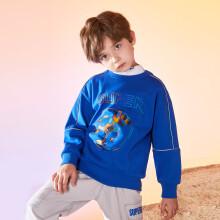 一贝皇城男童印花圆领卫衣2021秋装新款中大童儿童休闲套头上衣潮 宝蓝色 110cm