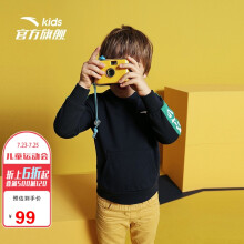 京东超市 安踏(ANTA)儿童童装男小童连帽卫衣A35039727玛雅蓝-4/130