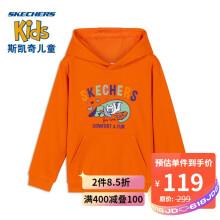 京东超市Skechers斯凯奇女童可爱童趣活力连帽卫衣L420G002 鹦鹉橙006R L 130