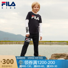 FILA斐乐童装男童长袖T恤春装儿童运动休闲时尚假两件长TK52B041202FNVD72传奇蓝130