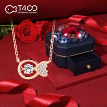 T400跳动的心项链女925银潮简约气质轻奢小众锁骨链玫瑰金吊坠 玫瑰金色项链(永生花礼盒)
