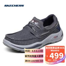 斯凯奇Skechers商务休闲男鞋 简约套脚帆船鞋帆布鞋204180 海军蓝色 NVY 41