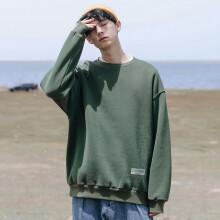 卡姿希品牌男士运动套头衫2021新款卫衣男宽松春秋款潮流圆领百搭潮牌时尚卫衣 绿色 M