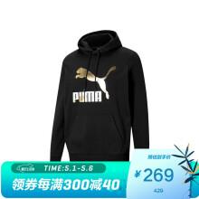 彪马 PUMA 男子 生活系列 Classics Logo Hoodie TR 针织卫衣 531370 01 黑色-金色 亚洲码 XL 185/104A
