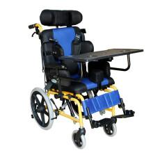 泰康轮椅儿童脑瘫儿童轮椅可折叠轮椅车脑瘫康复儿童轮椅车 蓝黑坐垫坐姿可调款