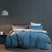 莱薇A类60支全棉长绒棉贡缎四件套纯棉刺绣套件床上用品 繁星蓝 1.5m床四件套被套200*230cm
