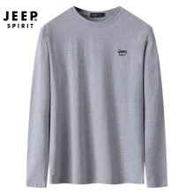吉普 JEEP 卫衣男新款百搭圆领男T恤舒适套头卫衣男 QC8881 深灰 M