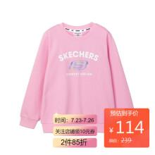 京东超市 Skechers斯凯奇童装女童针织套头卫衣L121G081 00NC丁香粉 XL 140