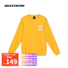 斯凯奇Skechers简约舒适针织圆领套头衫男子运动休闲卫衣L120M030 金黄色001N S