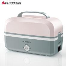 志高 (CHIGO) 电热饭盒上班不锈钢内胆蒸煮插电保温饭盒电热饭器热饭盒 粉色