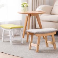 家逸 实木凳子 创意矮凳  换鞋凳 布艺沙发凳 浅灰色