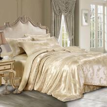 枕水人家 宽幅双面真丝提花四件套 100%桑蚕丝套件 丝绸被套 婚庆真丝床品 盛世华庭香槟 200X230(CM)