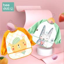 京东超市蓓兜(beedoll)儿童罩衣围兜防水防脏婴儿护衣饭兜宝宝画画围裙 小熊+小兔