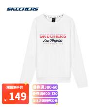 Skechers斯凯奇款休闲圆领卫衣女子印花套头衫运动卫衣L320W006 亮白色0019 L