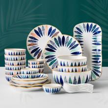 INSCRIPTION 日式手绘陶瓷餐具套装 家用特色餐厅碗盘碟套装 六人食-混色叶羽