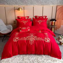 妤宸 婚庆四件套全棉大红色浪漫结婚床上用品套件刺绣花纯棉床单被套大床1.8米2米高支高密六七十多件套 D新两情相悦 1.8米床盖款/四件套/被套2*2.3M