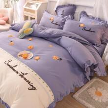格瑞雅居 床上四件套亲肤磨毛床品件套少女心床单床裙被套枕套床上用品 艾薇-雪青 1.8*2米床裙-被套200*230cm