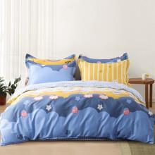 迎馨 纯棉三件套幼儿园卡通床单被罩学生宿舍床上用品1.5米被套单人床三件套 幸运彩虹