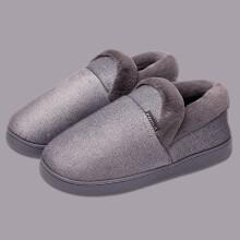 酷趣Coqui 经典舒适毛绒加厚保暖包跟棉拖鞋男款 灰色43-44 CQ4059