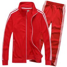 复古梅花牌运动服复古国货卫衣外套男女童情侣装亲子装套装 红色 L(170)