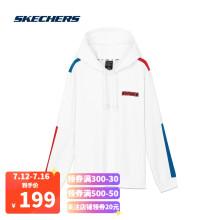 斯凯奇Skechers男子针织连帽衫时尚拼色运动卫衣L320M195 亮白色0019 M