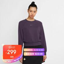 耐克 NIKE 女子 卫衣/套头衫 AS W NSW SWSH CREW FT 运动服 CZ8891-573 紫色 M码