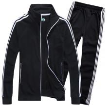 复古梅花牌运动服复古国货卫衣外套男女童情侣装亲子装套装 黑色 L(170)