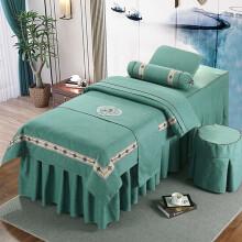梦贝莉 棉麻美容床罩四件套全棉被里亚麻被面欧式美容院理疗美体按摩床套可定做简约套件 绿色-流年系列 185*70方头