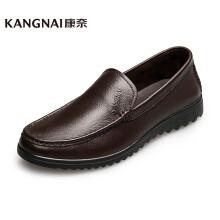 康奈 男士皮鞋日常百搭舒适套脚商务休闲鞋轻质浅口一脚蹬男鞋 咖色 39