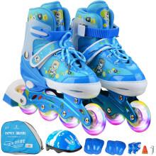 乐士Enpex溜冰鞋儿童男女成人套装轮滑鞋可调节滑冰鞋旱冰鞋直排轮八轮全闪 MS172 L码 蓝色 赠护具头盔