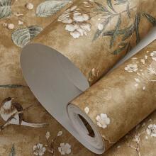 氧露莎 环保无纺材质田园风格复古怀旧客厅卧室背景墙壁纸  深咖色0.53mx10m