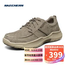 Skechers斯凯奇男士低帮时尚绑带帆布鞋美式商务休闲鞋66303 BGE浅褐色 41