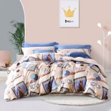 京东超市 富安娜 全棉四件套 纯棉床品套件 40支纯棉新疆棉套件印花床单被套学生宿舍单双人套件 尚旅(圣之花) 1.8米床(被套:230*229cm)四件套