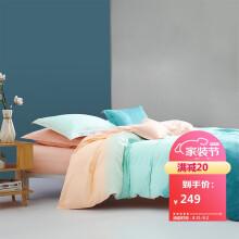 京东超市 百丽丝家纺水星出品 全棉四件套 水洗印花床单被套  1.5米床 远杉