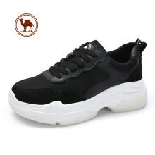骆驼牌 小白鞋女运动休闲拼接舒适厚底系带 W83525503 黑色 36/230码
