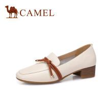 骆驼(CAMEL) 女士 知性优雅牛皮蝴蝶结装饰单鞋 A915046182 米色 38