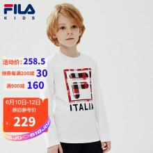 京东超市FILA斐乐童装男童长袖春季儿童长袖T恤圆领上衣潮K12B011208FWT标准白150