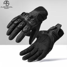 外星蜗牛新款T2防摔摩托车骑士手套透气网眼触屏机车赛车街车装备 黑色 L