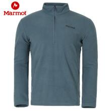 土拨鼠Marmot 男式保暖套头抓绒卫衣/套头衫 紫蓝色 S