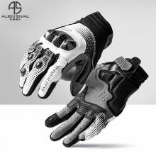 外星蜗牛T3手套碳纤维防摔男女四季透气机车赛车摩托车骑行装备 白色 XL